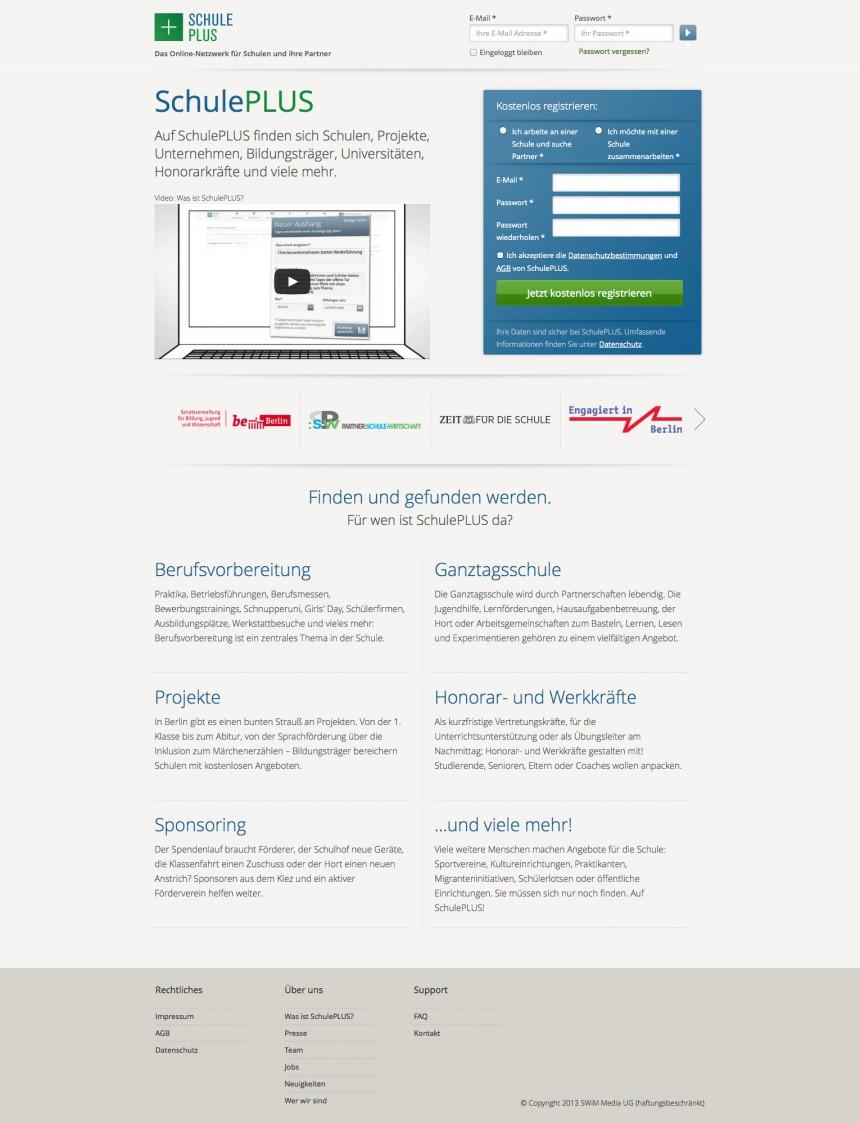 SchulePlus - start page
